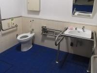 アリーナ内のトイレ、傾斜鏡あり(写真はアリーナ内のトイレ他、公園内にトイレ6ヶ所有り)