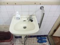 手洗いの高さ73cm、手すり有り
